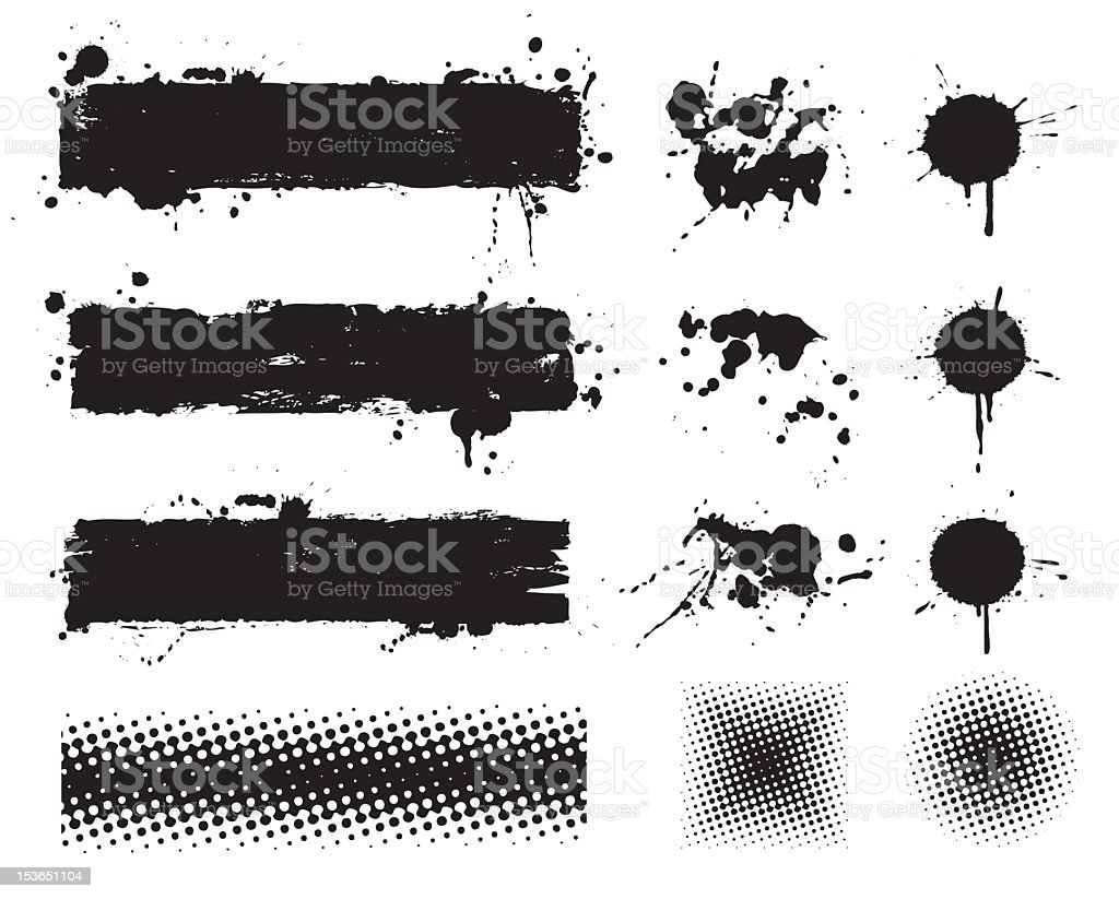 grunge set vector art illustration