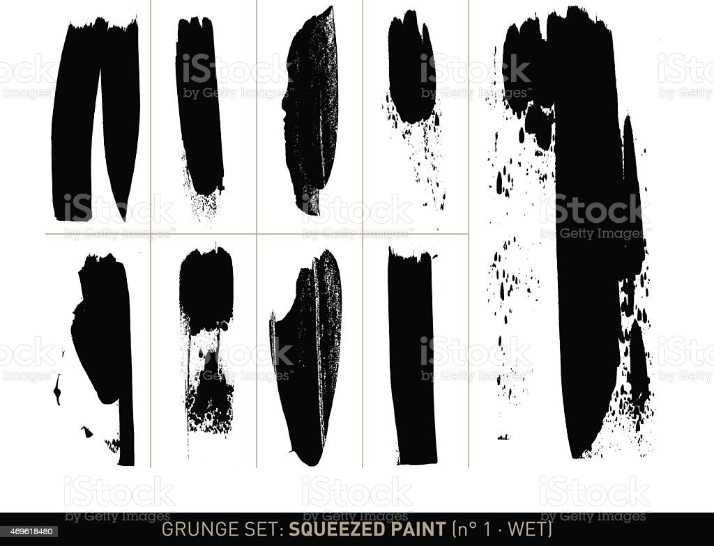Grunge set: Wet squeezed paint in b/w vector art illustration