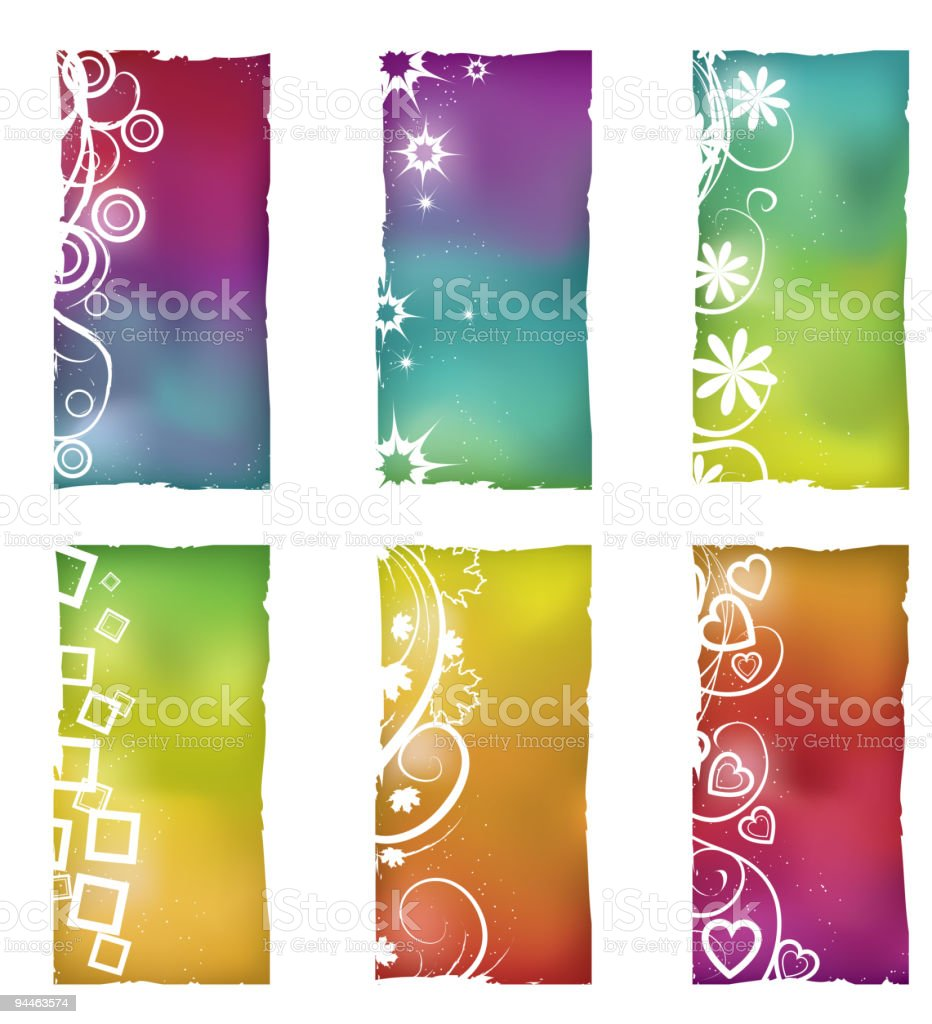 Grunge shapes with gradient mesh backgrounds royalty-free stock vector art