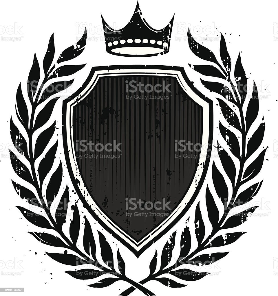 Grunge shield and laurel wreath royalty-free stock vector art