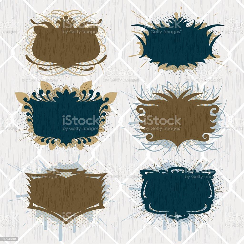Grunge Shield Set royalty-free stock vector art