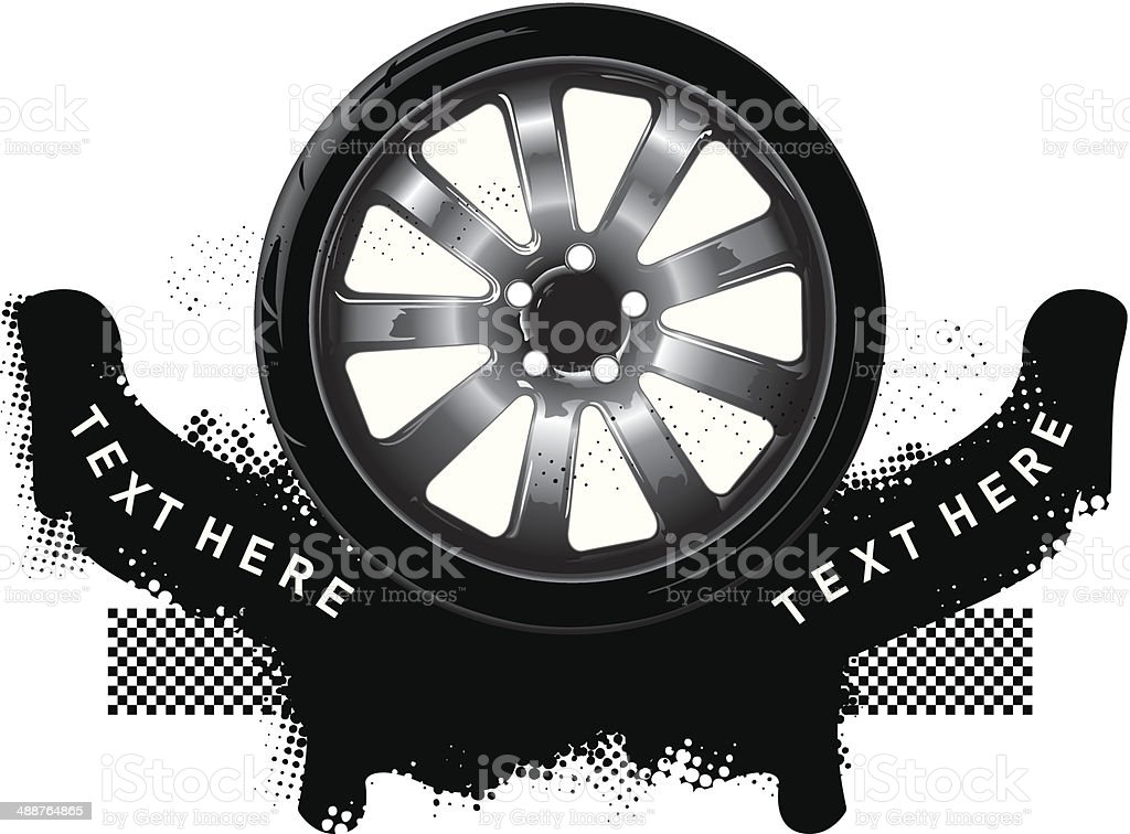 grunge shield tires with two banners vector art illustration