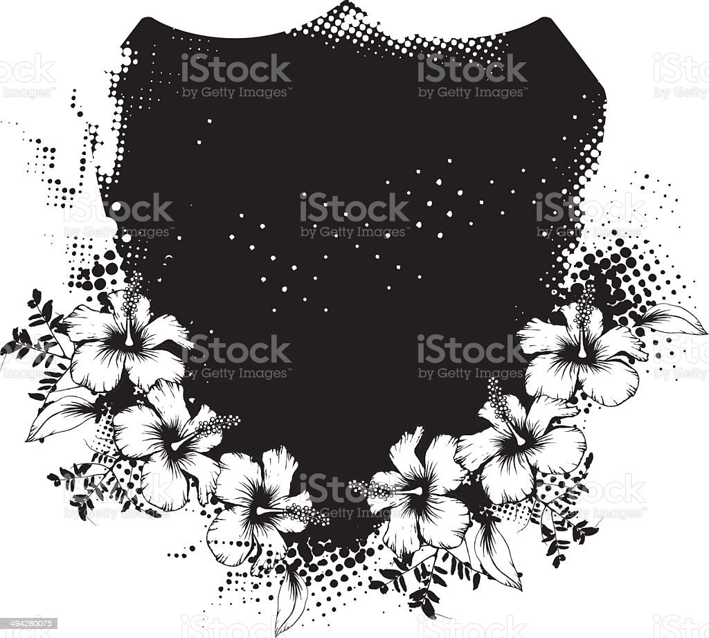 grunge shield with hibiscus royalty-free stock vector art