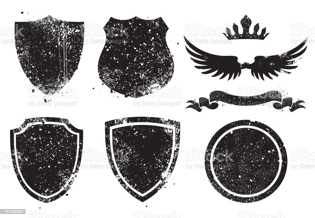 Grunge Shileds vector art illustration
