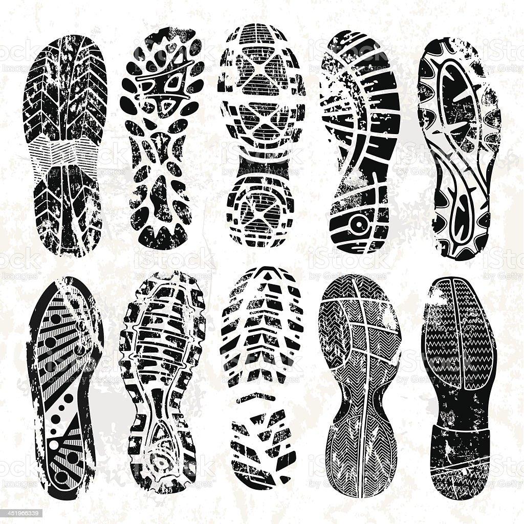 Grunge shoe tracks vector art illustration