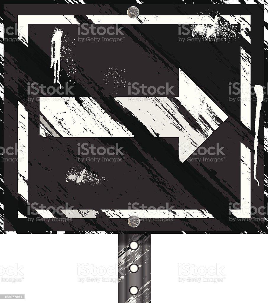 Grunge Sign | Arrow Black White royalty-free stock vector art