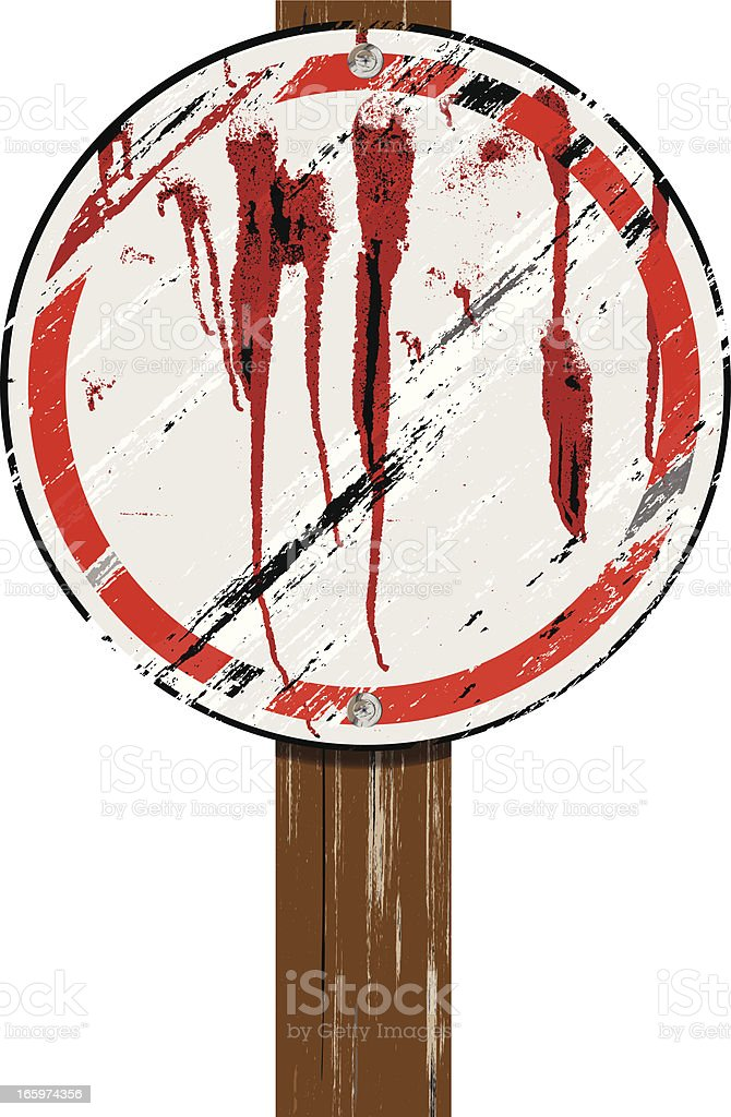 Grunge Sign on Wood Post | Round royalty-free stock vector art
