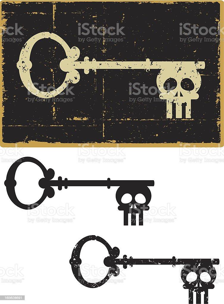 Grunge Skeleton Key vector art illustration