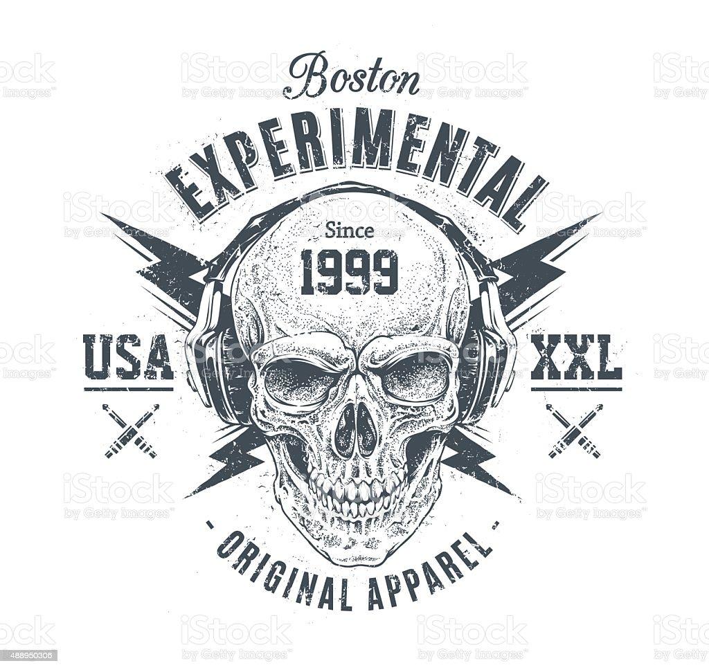 Grunge Skull Print vector art illustration
