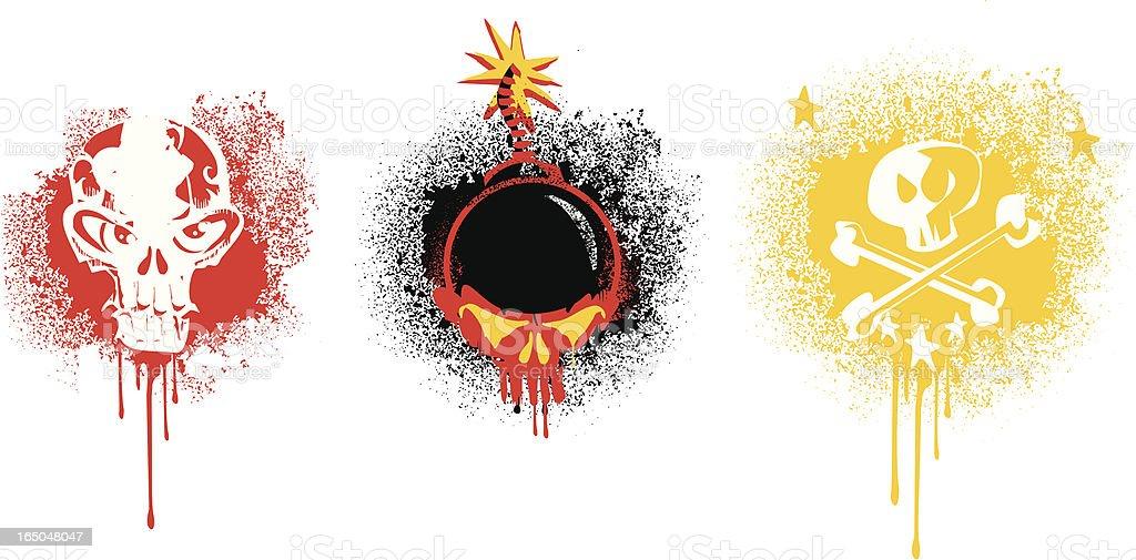 grunge skulls graffitis royalty-free stock vector art