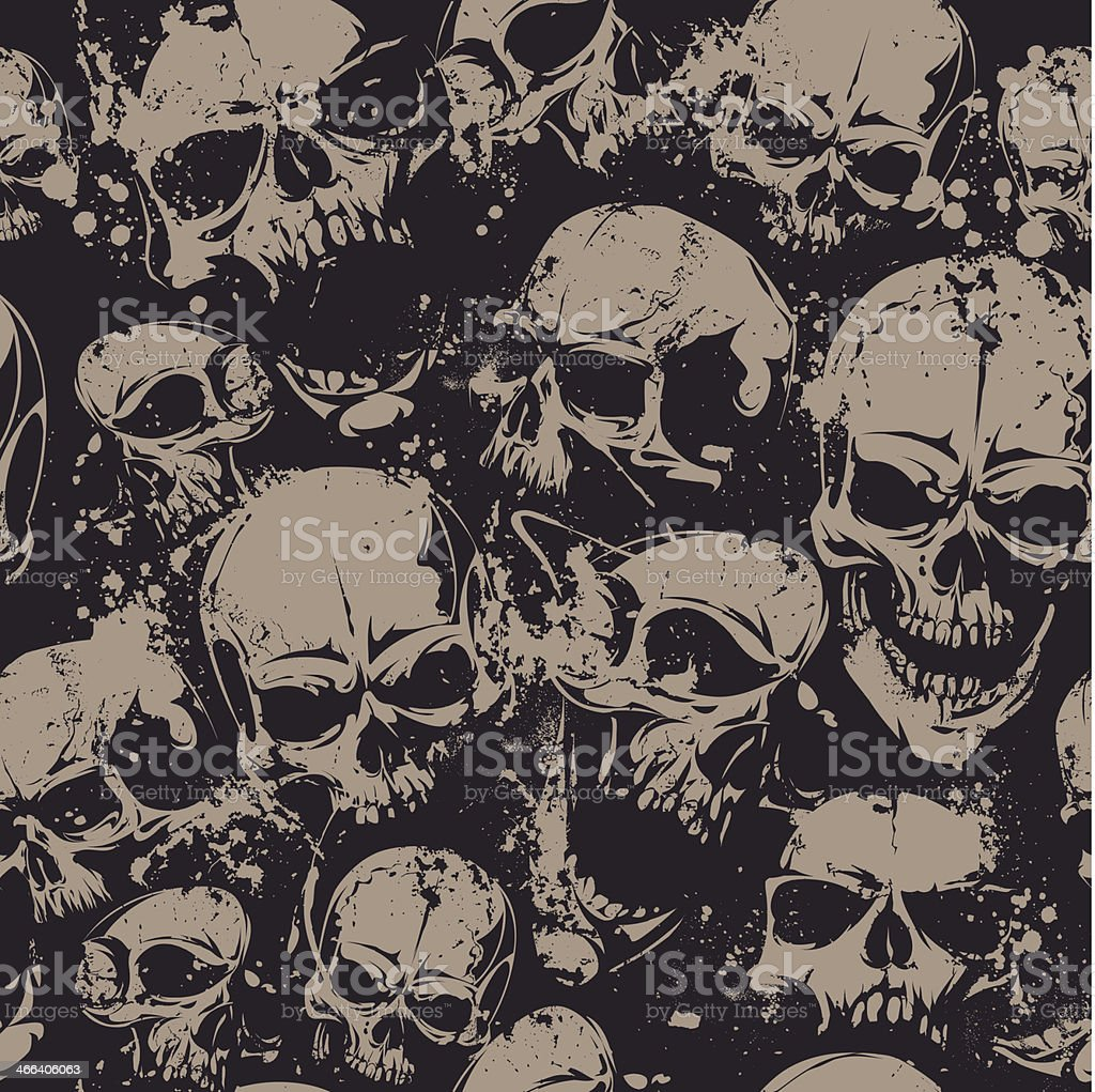 Grunge skulls seamless vector art illustration