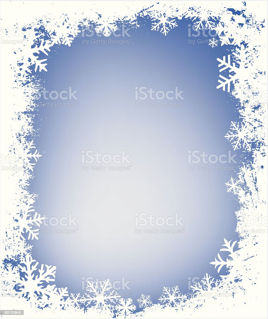 grunge snowflakes frame royalty-free stock vector art