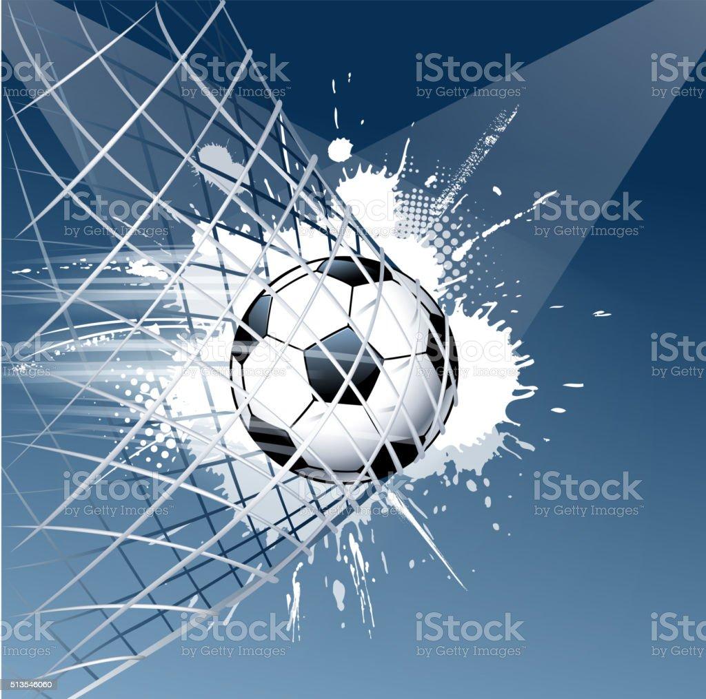 grunge soccer ball goal vector art illustration