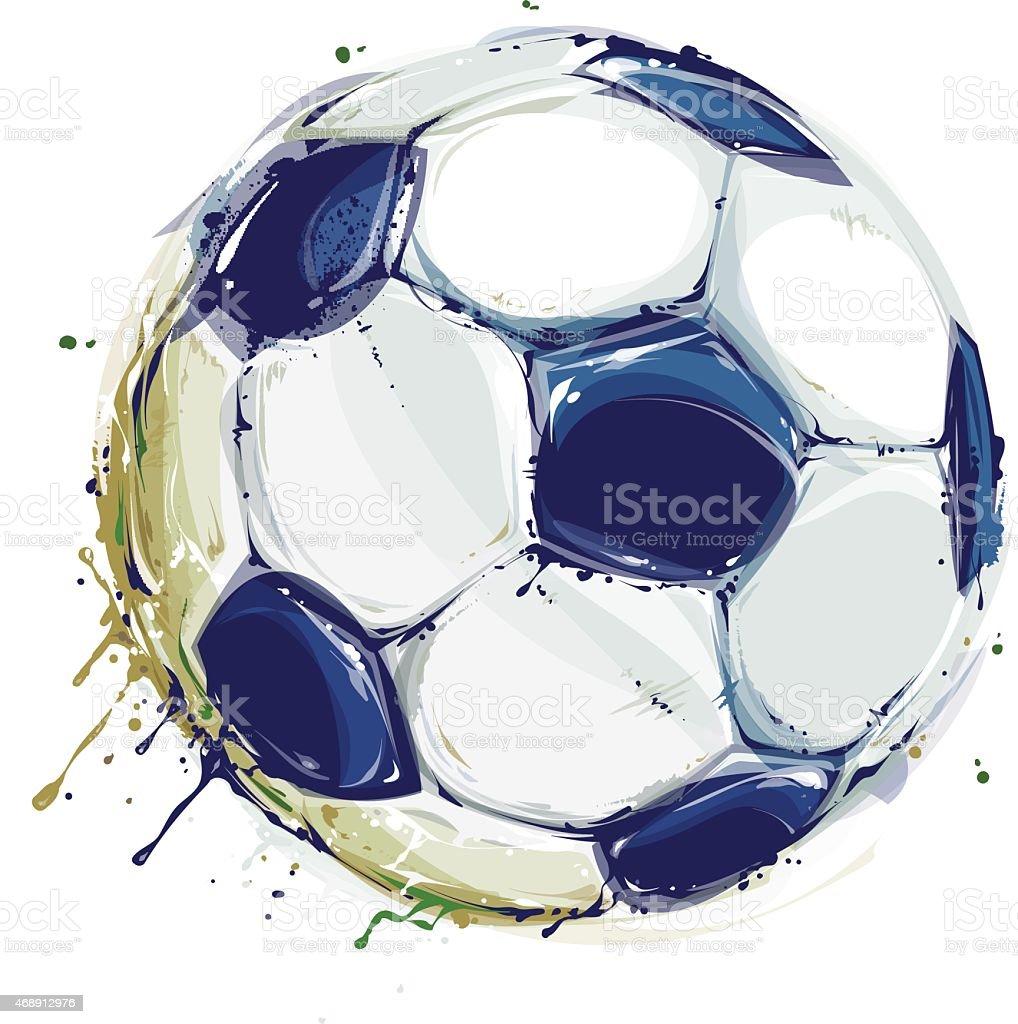Grunge Soccer Ball vector art illustration