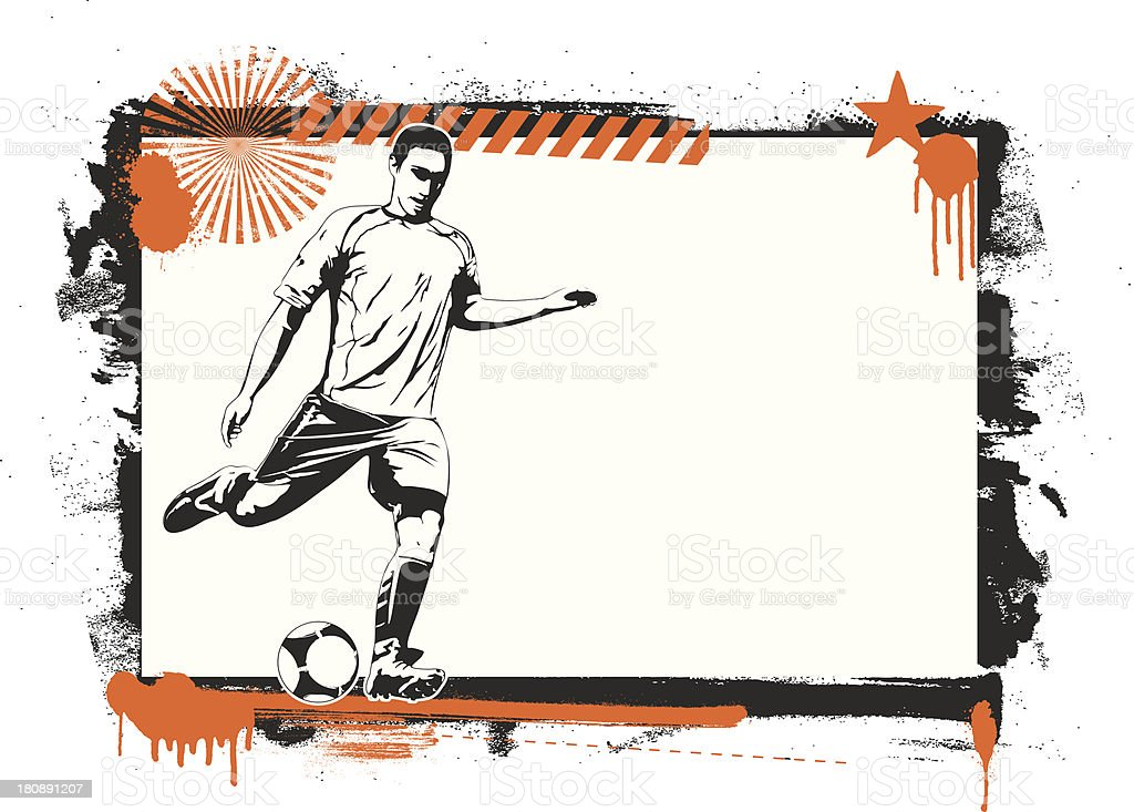 grunge soccer frame with best player royalty-free stock vector art