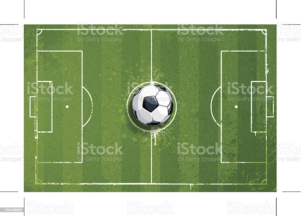 Grunge soccer playing field royalty-free stock vector art