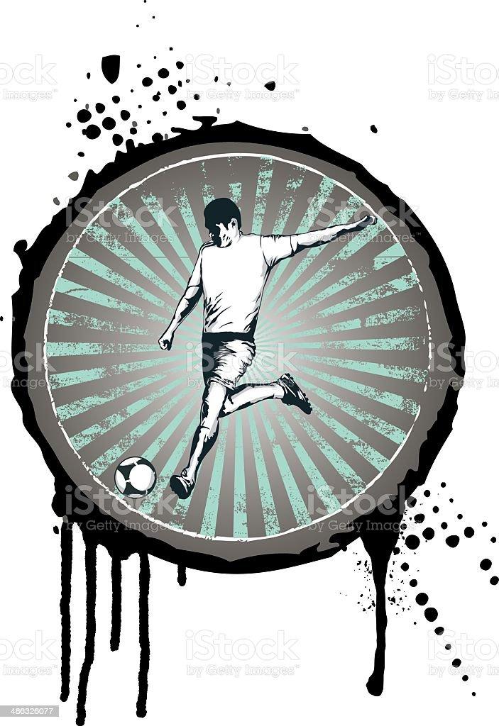 grunge soccer shield vector art illustration