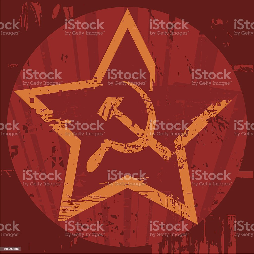 Grunge Soviet era emblem with hammer and sickle royalty-free stock vector art