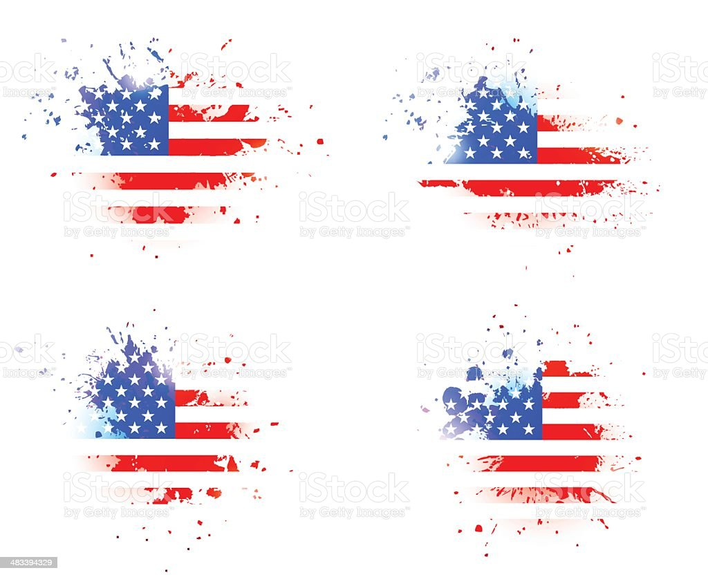 Grunge splashes with USA flag over royalty-free stock vector art