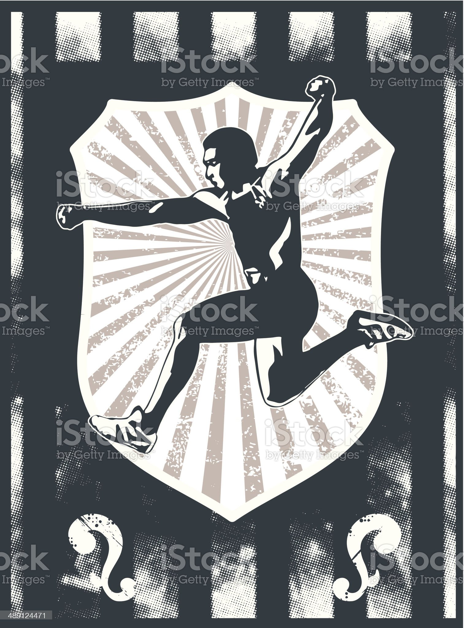 grunge sport shield with athlete jumping royalty-free stock vector art