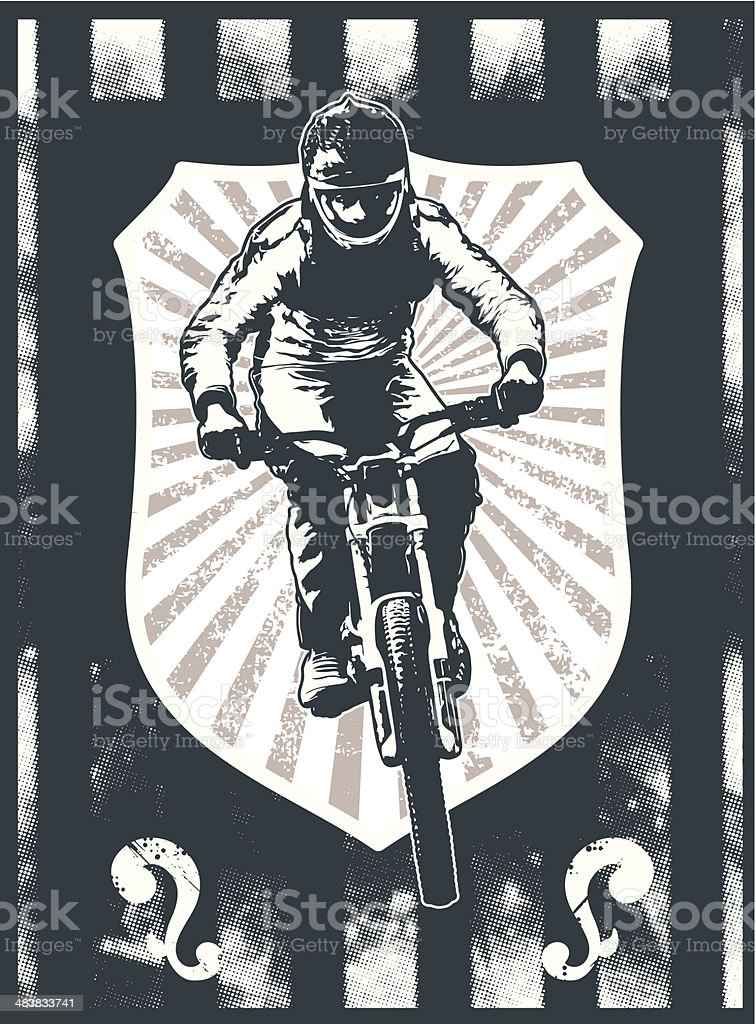 grunge sport shield with mountain bike rider vector art illustration