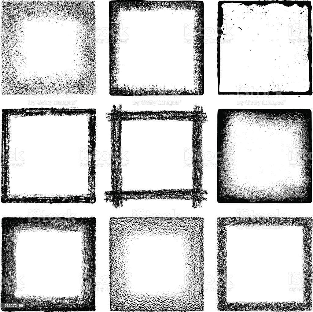 Grunge squares vector art illustration