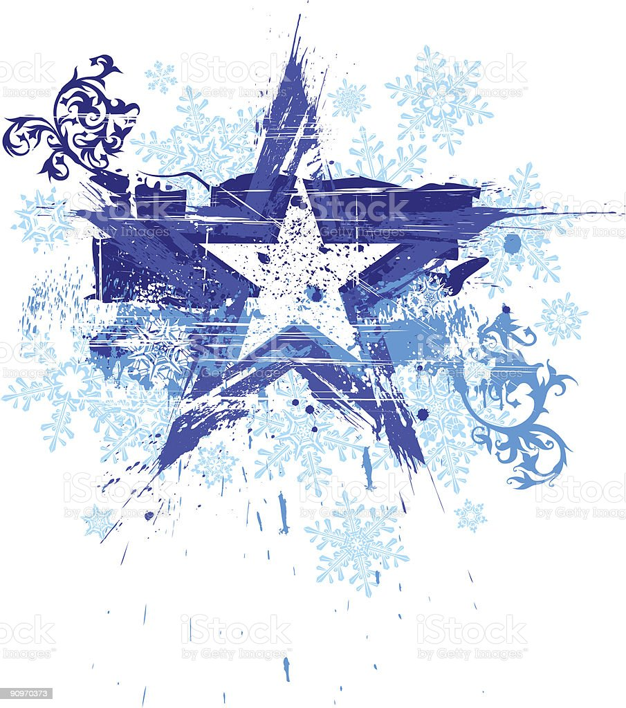 grunge star, floral patterns & snowflakes royalty-free stock vector art