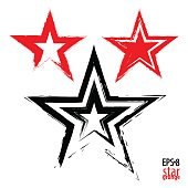 Grunge star painted with red and black paint