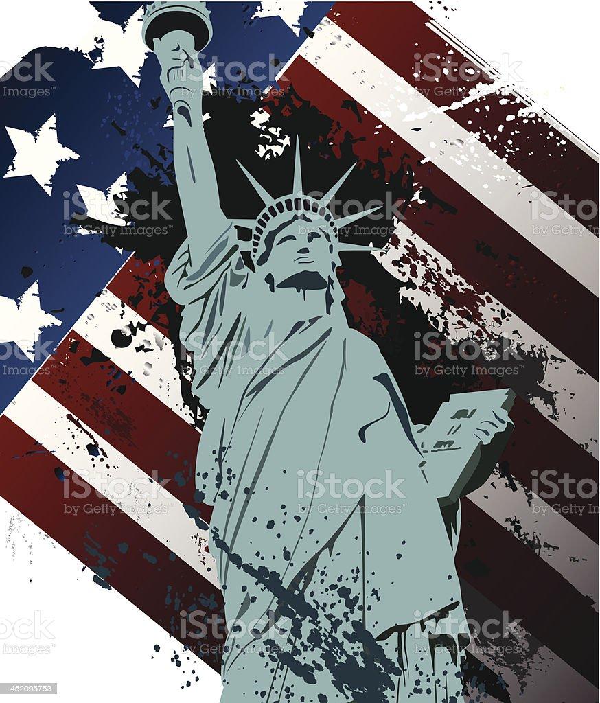 Grunge Statue of liberty vector art illustration