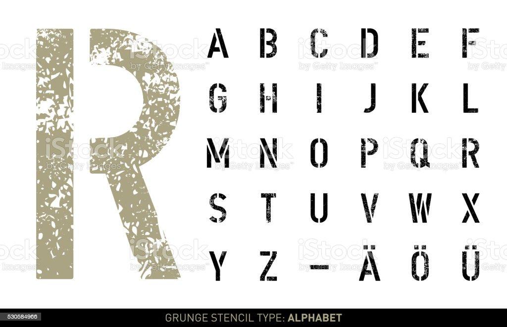 Grunge stencil alphabet vector art illustration