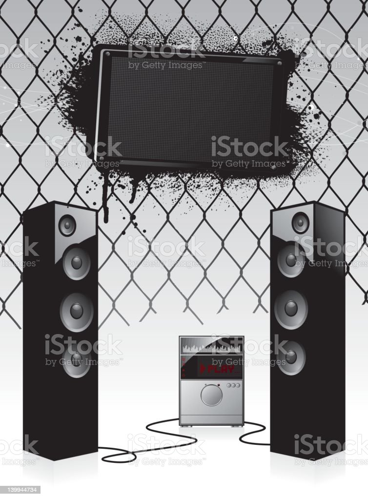 Grunge stereo party background vector art illustration
