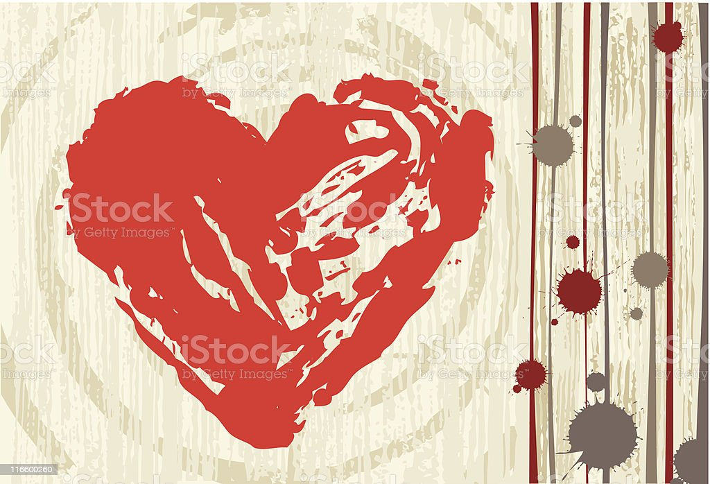 Grunge style love background with big hearts royalty-free stock vector art