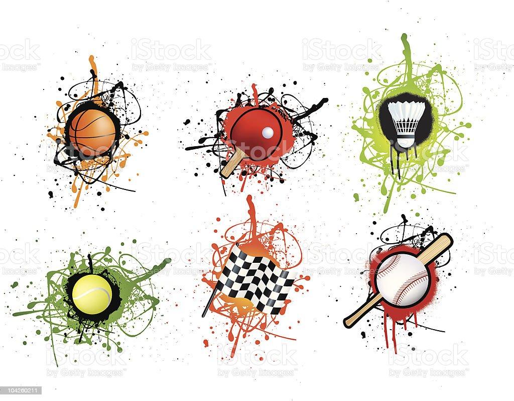 Grunge Design Sport-icon-set Lizenzfreies vektor illustration
