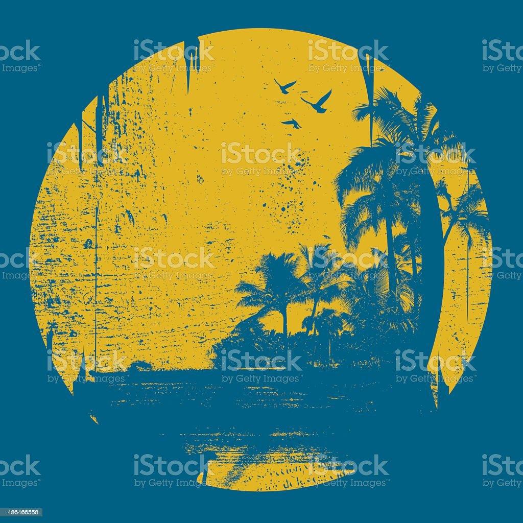 grunge summer circle scene vector art illustration
