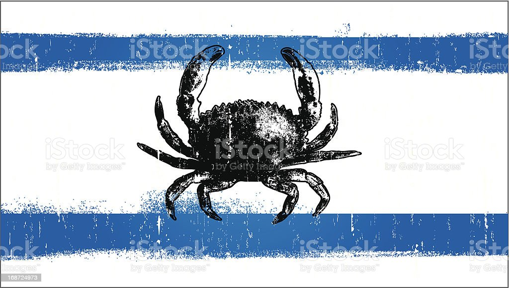 grunge summer flag with crab royalty-free stock vector art