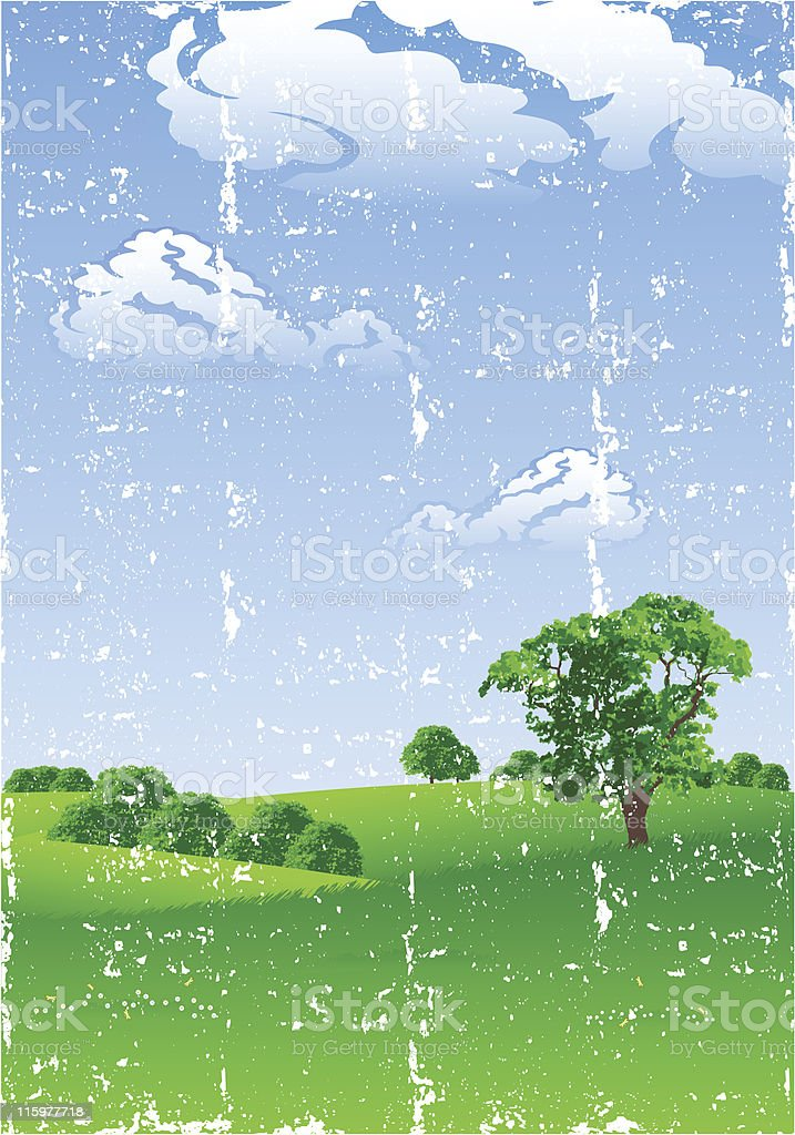 Grunge Summer landscape royalty-free stock vector art