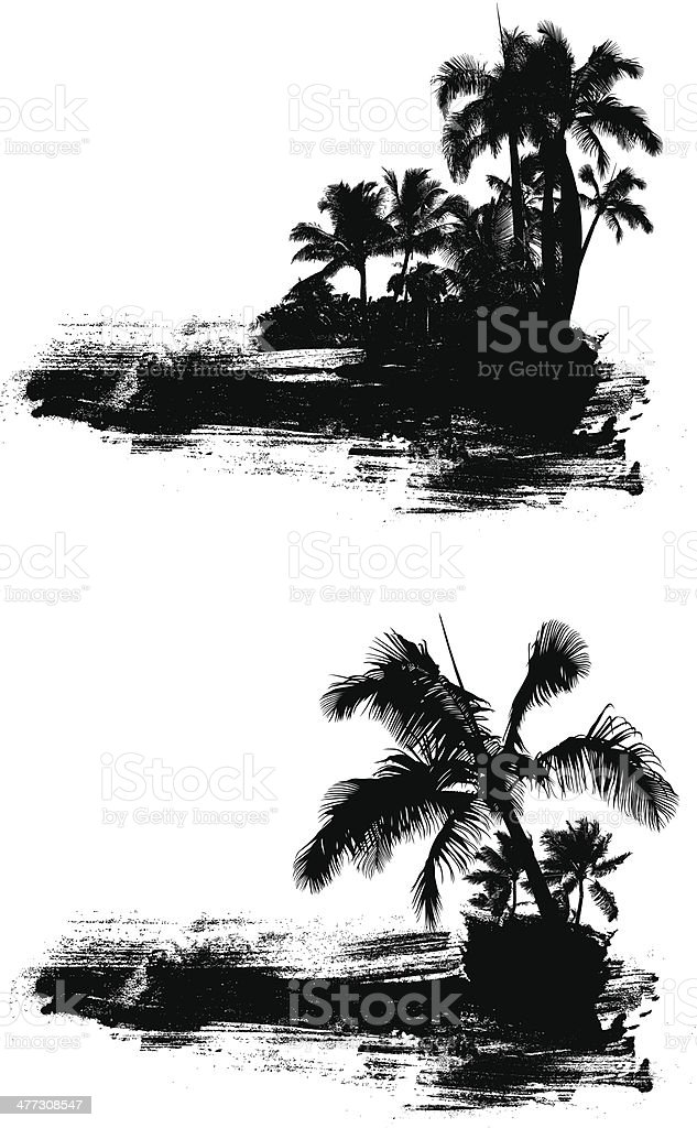 grunge summer scene with palms royalty-free stock vector art