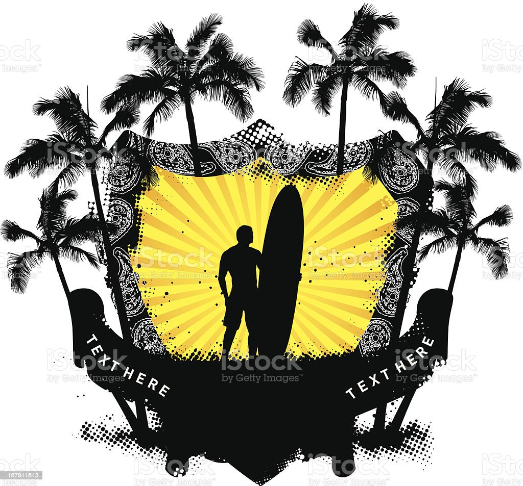 grunge summer shield with surfer and palms royalty-free stock vector art
