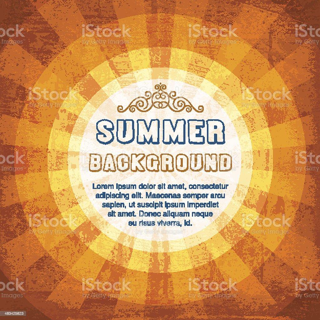 Grunge Summer Sun Background vector art illustration