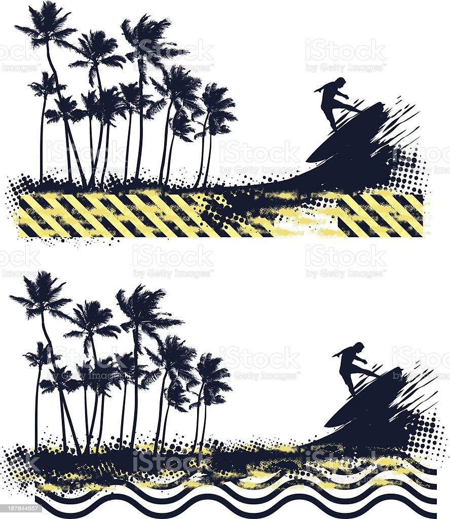 grunge summer vignette with palms and surfer jumping vector art illustration