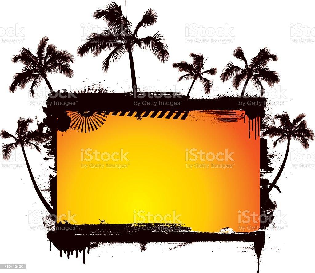 grunge sunset summer background with many palms vector art illustration