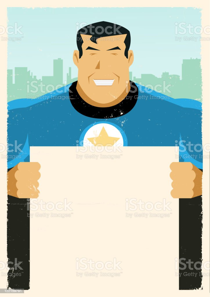 Grunge Super Hero Sign royalty-free stock vector art
