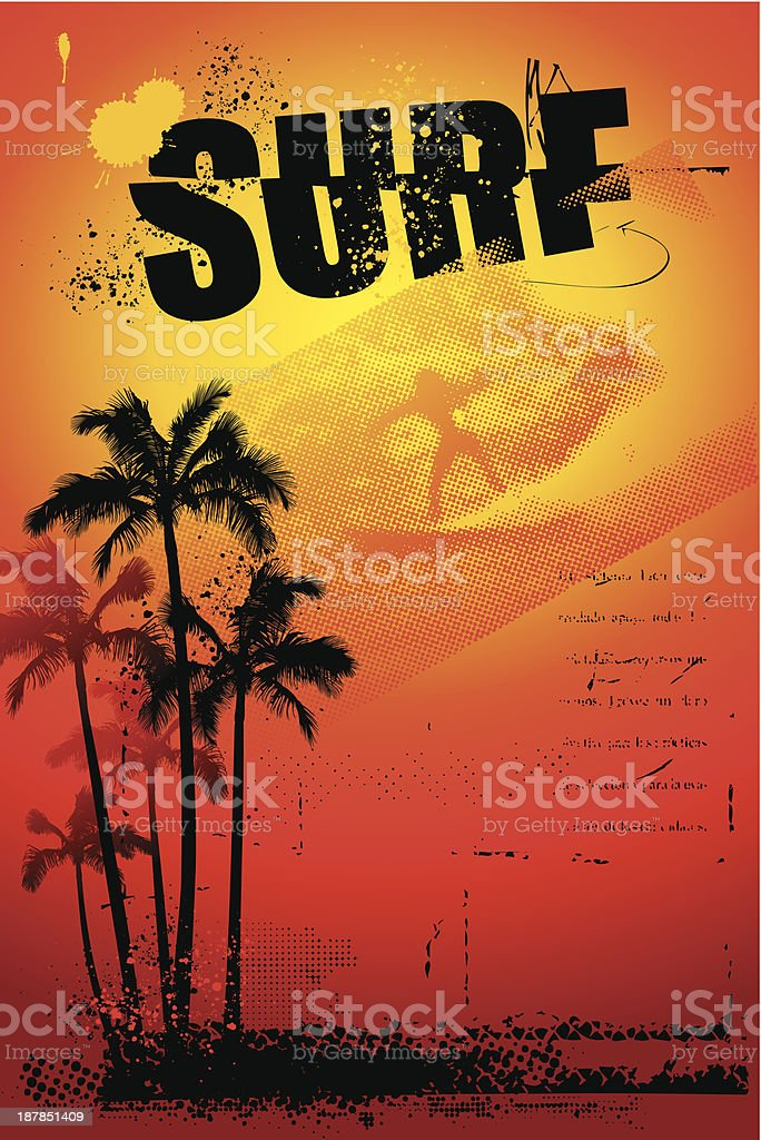 grunge surf poster with palms and sunset royalty-free stock vector art