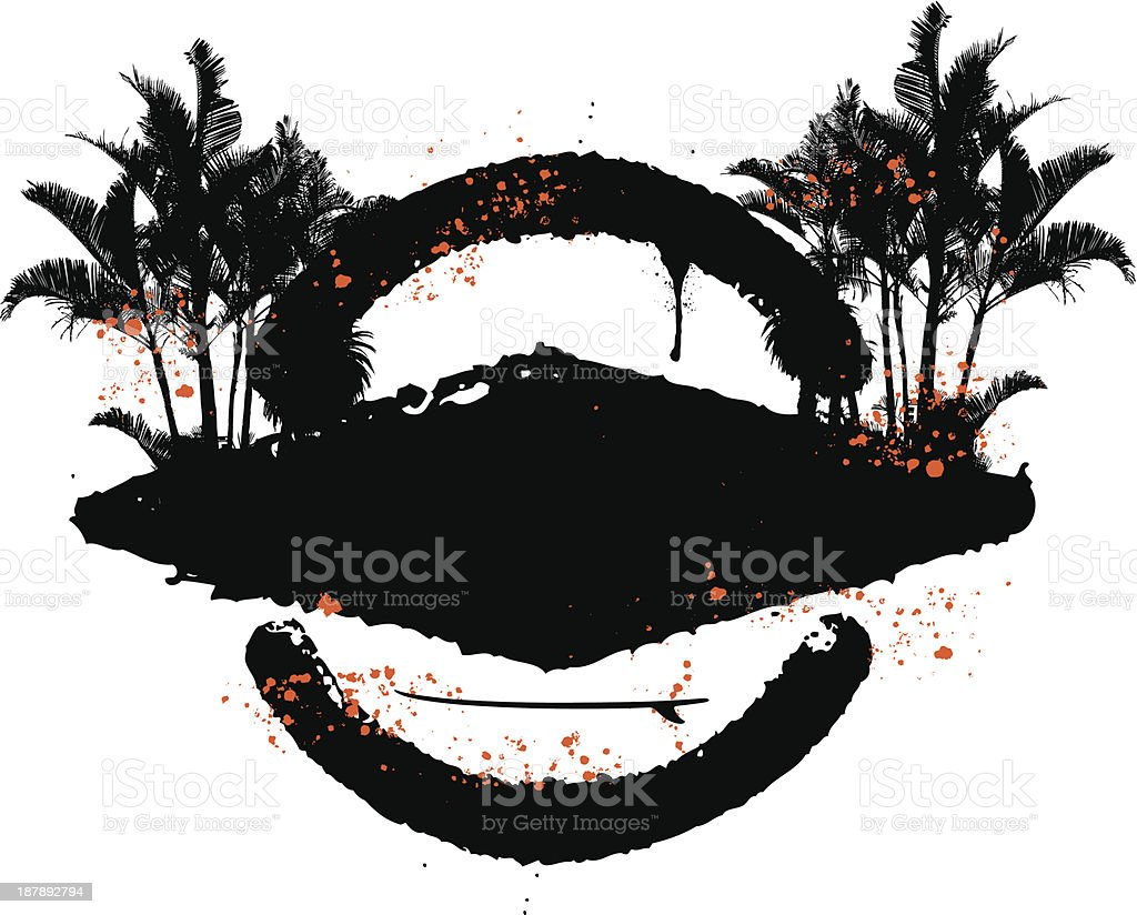 grunge surf shield in two colors with palms royalty-free stock vector art