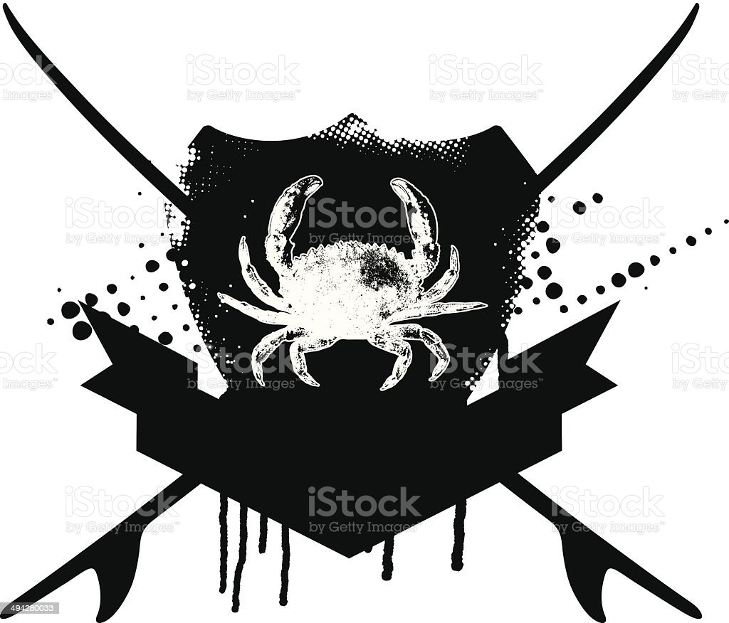 grunge surf shield with crab royalty-free stock vector art