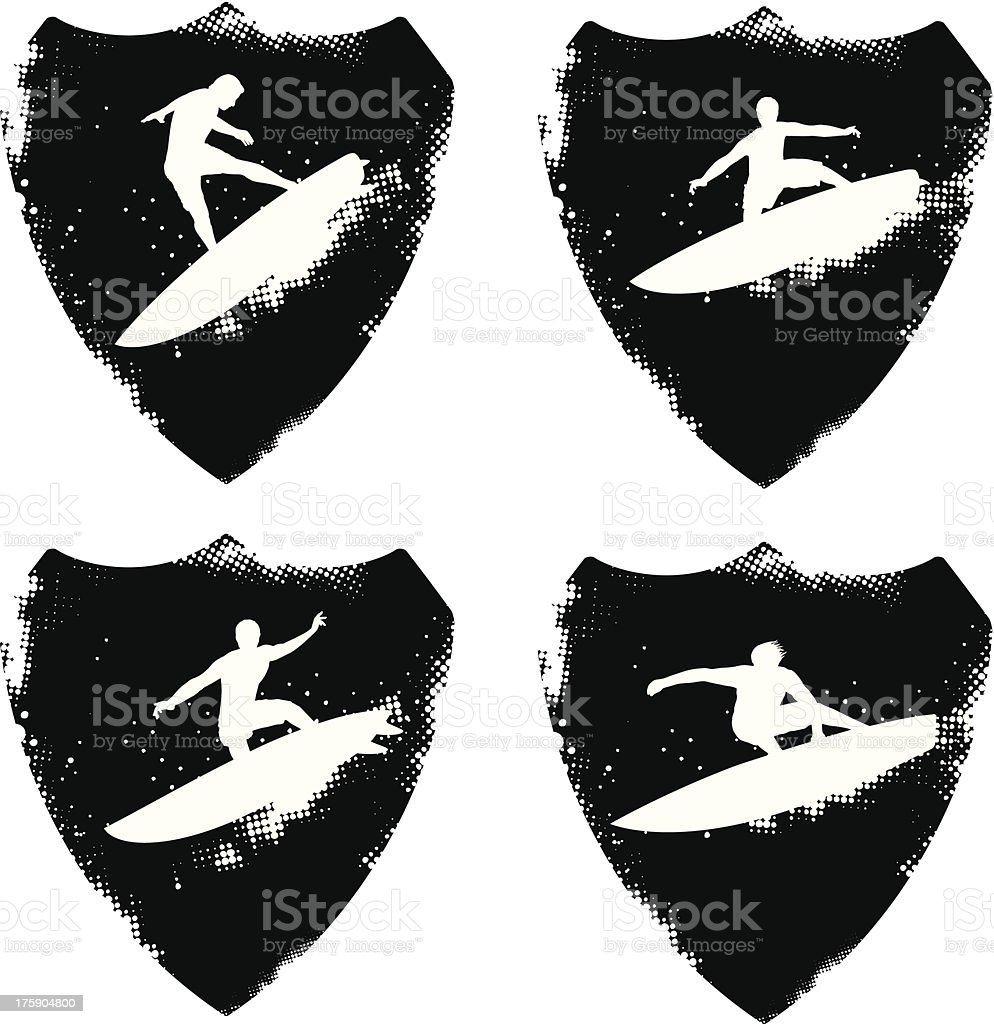 grunge surf shields with riders royalty-free stock vector art