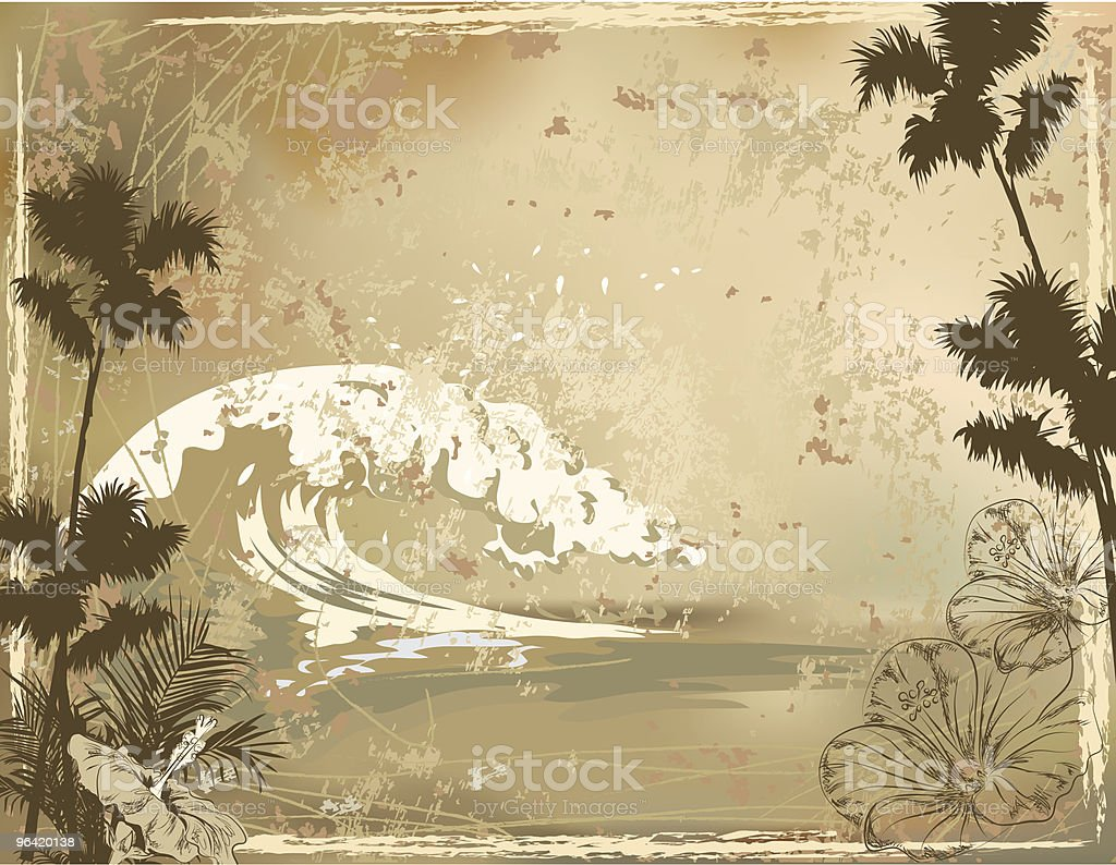 Grunge Surfing Background with Ocean Waves and Hibuscus Flowers royalty-free stock vector art
