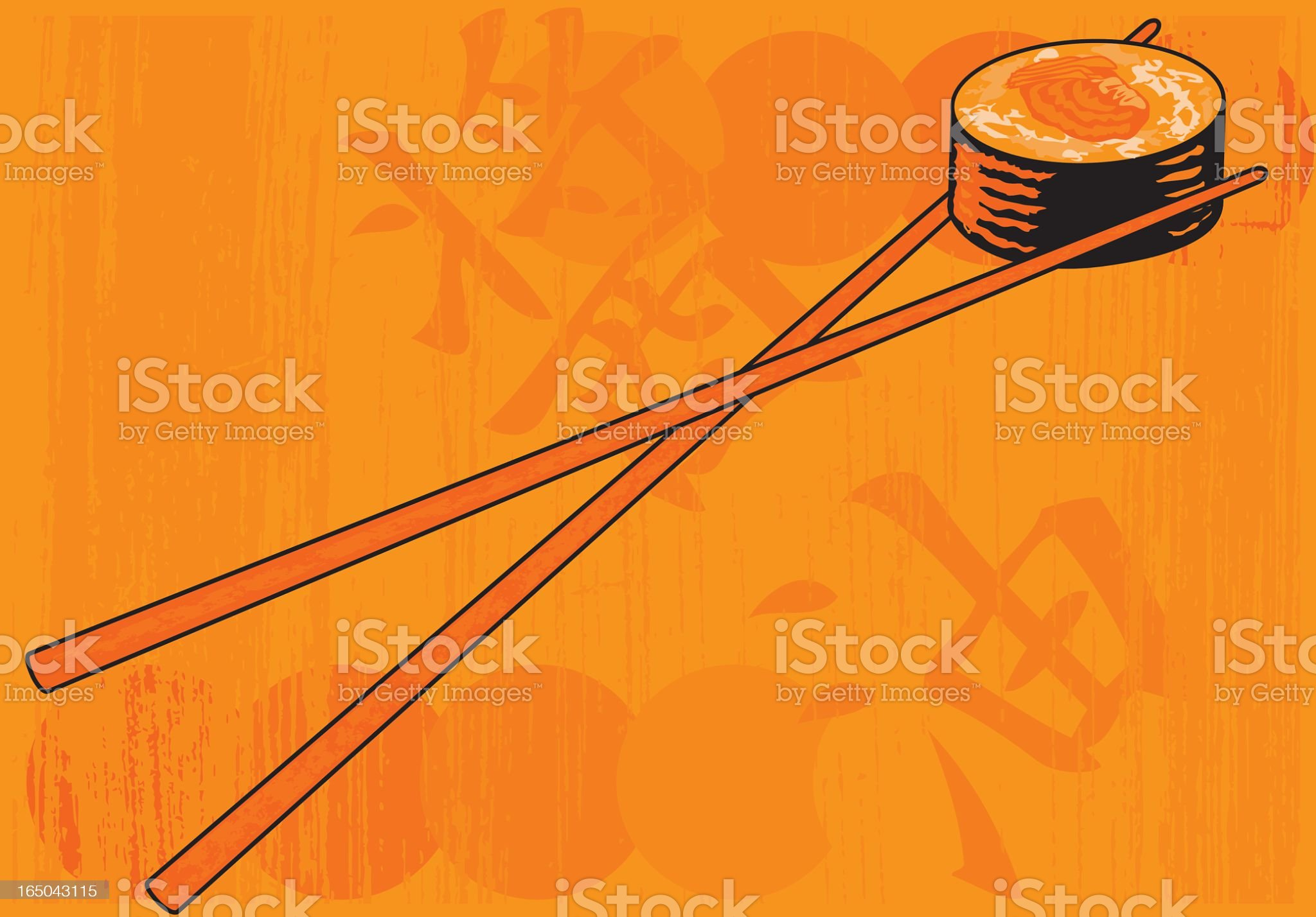 Grunge Sushi in orange royalty-free stock vector art