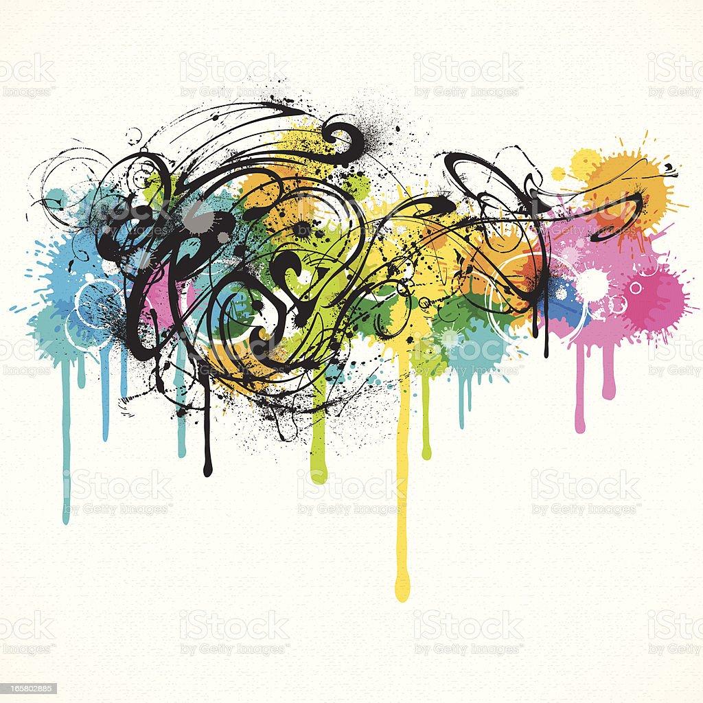Grunge Swirls vector art illustration