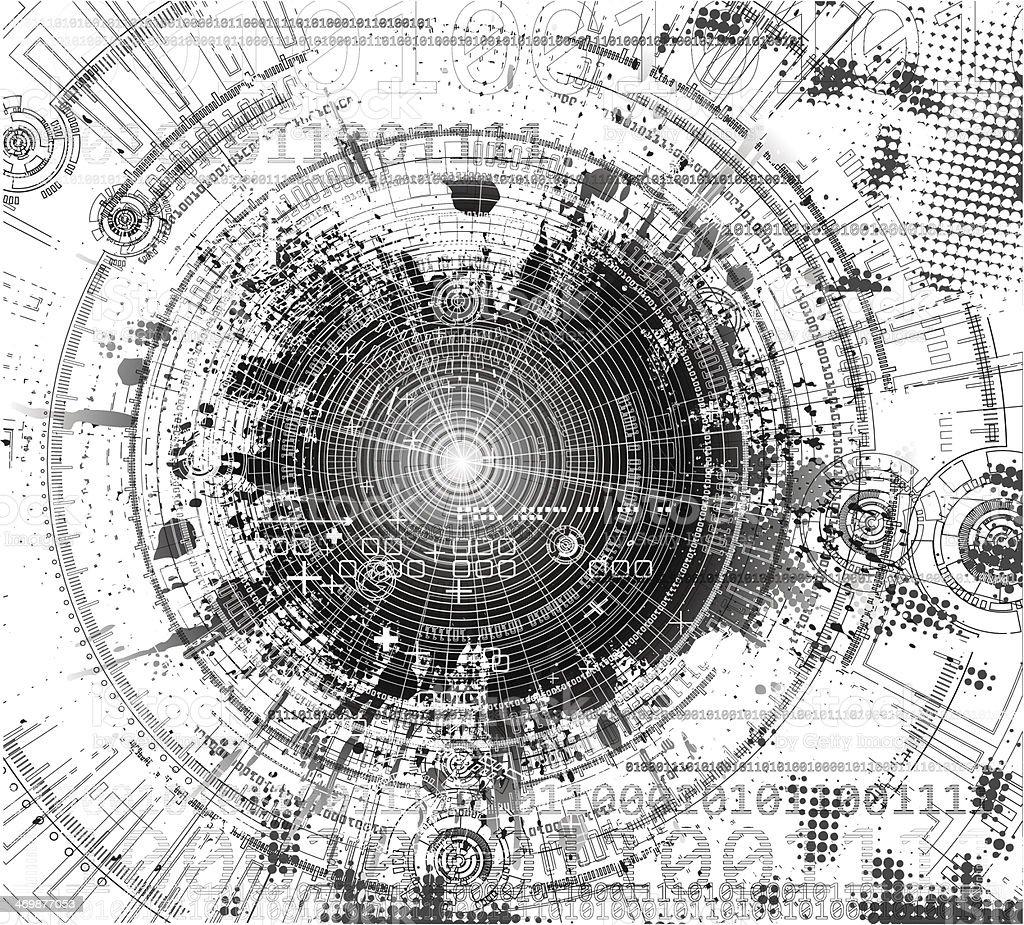 grunge tech background. vector art illustration